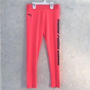 BNWT Girls Puma Performance Leggings Pink Alert